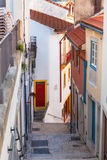 Narrow Street with Stairs in Old Town, Coimbra. Portugal Royalty Free Stock Image