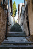 Narrow Street and Stairway in Pula Stock Photo