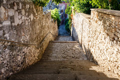 Narrow Street and Stairway in Pula Royalty Free Stock Image