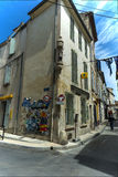 Narrow street statue  building Arles Stock Photography