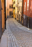 Narrow street in Stockholm Stock Photos