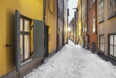 Narrow street in Stockholm Stock Image