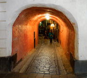 Narrow street in Stockholm Stock Photography