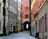 Narrow street in Stockholm Stock Image