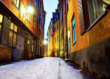 Narrow street in Stockholm Stock Images