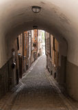 Narrow street in Stockholm, Sweden Royalty Free Stock Image