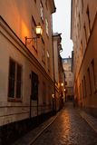 Narrow street of Stockholm, Sweden Stock Photo
