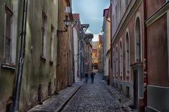 Narrow street in Tallinn Royalty Free Stock Photography