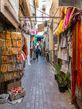 Narrow street of the textile souk in Bur Dubai Royalty Free Stock Photo
