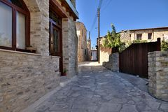 Narrow street in ancient village of Lefkara, Cyprus stock images