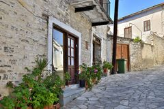 street in ancient village of Lefkara, Cyprus royalty free stock photo