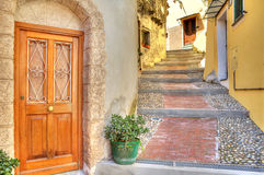Narrow street. Town of Ventimiglia, Italy. Royalty Free Stock Photos