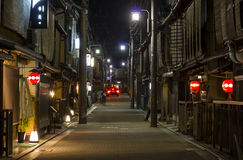 Narrow street with traditional wooden architecture in Gion distr Stock Photo