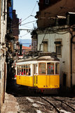 Narrow street tram Stock Images