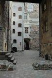 Narrow street in Turku Castle. Inside medieval stone castle in Turku (Finland Royalty Free Stock Image