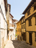 Narrow street with typical houses in Frias Royalty Free Stock Photography