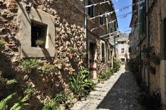 Narrow Street in Valldemosa Stock Images