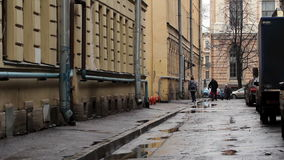 Narrow street on Vasilevsky Island, St. Petersburg Royalty Free Stock Image