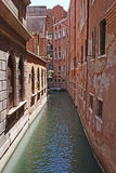 Narrow street in venice. Medieval narrow channel in venice stock photography