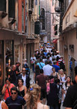 Narrow street in Venice. Venice,Italy- July 28th,2011: Image of a very crowded narrow street in Venice,Italy.Venice is one of the most visited city in the world Stock Photography