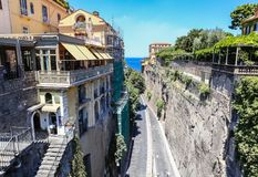 Narrow street of Via Luigi de Maio. Sorrento. Narrow street of Via Luigi de Maio.  Sorrento.  Italy Royalty Free Stock Photography
