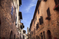 Narrow Street Via San Gimignano Tuscany Italy Royalty Free Stock Photo