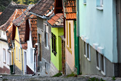Narrow Street View With Colorful Houses Stock Photo