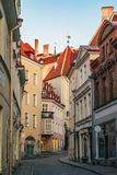 Narrow street view in old town of Tallinn city Stock Image