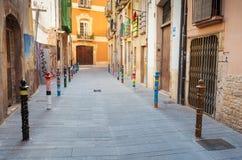 Narrow street view of Spanish Tarragona Stock Photos