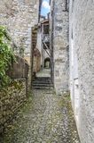 Narrow street in the villa saint cirq lapopie Stock Images