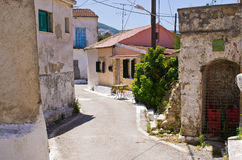 Narrow street in the village - Valanio, Corfu, Greece Royalty Free Stock Images