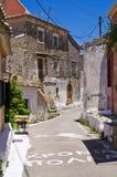 Narrow street in the village - Valanio, Corfu, Greece Stock Image