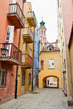 Narrow street in Warsaw Royalty Free Stock Photos