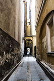 Narrow street. Warsaw, Poland, the Old Town. Old and with the atmosphere. Secret places of the city Stock Photography