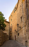 Narrow street on the way to the Cathedral of Girona Royalty Free Stock Image