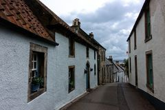 Narrow street in Culross, Scotland stock image