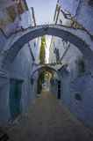 Narrow street in wide angle Royalty Free Stock Photo