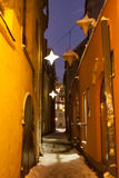 Narrow street in winter Royalty Free Stock Photography