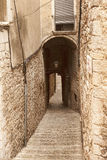 The narrow streets of the ancient quarter in Girona Royalty Free Stock Photography
