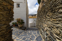 Narrow streets in cadaques. Spain stock images