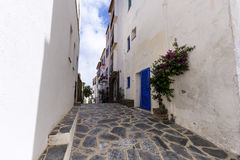 Narrow streets in cadaques. Spain royalty free stock photo