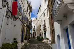 Narrow streets in Cadaques. Spain stock photography