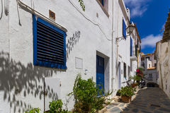Narrow streets in Cadaques. Spain royalty free stock images
