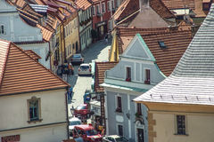 Narrow Streets In Cesky Krumlov Stock Photo