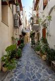 Narrow streets in Chania, Greece Royalty Free Stock Photo