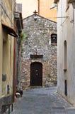 Narrow streets at city of Castelmola, Sicily Stock Photography