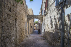 Narrow streets of cobblestone in the old town Royalty Free Stock Images