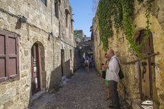 Narrow streets of cobblestone in the old town Royalty Free Stock Photography