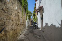 Narrow streets of cobblestone in the old town Stock Images