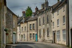 Narrow streets of the Cotswold village of Minchinhampton, Gloucestershire stock photo